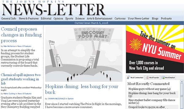 My op-ed on the front page of the news-letter web site